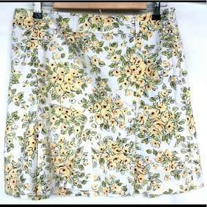 Ann Taylor Yellow Floral Cotton Pleated Skirt